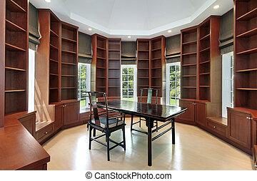 construction maison, bibliothèque, nouveau