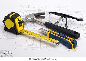 construction maison, concept, outils