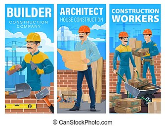 construction, maison, constructeur, architecte, vecteur