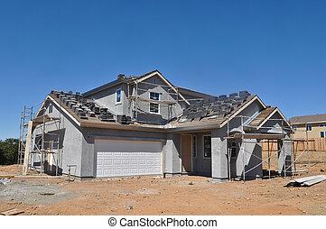 construction maison, résidentiel, sous, nouveau