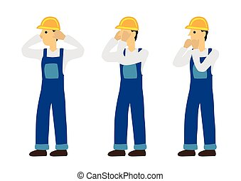 Construction man in three expression of see no evil, speak no evil and hear no evil. Concept of wisdom or ignorance.