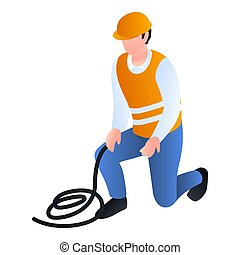 Construction man with rope icon, isometric style -...