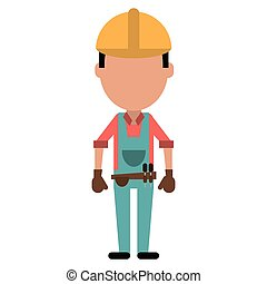 construction man with tool belt gloves