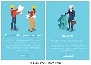 Construction Management Page Vector Illustration