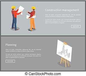 Construction Management Set Vector Illustration