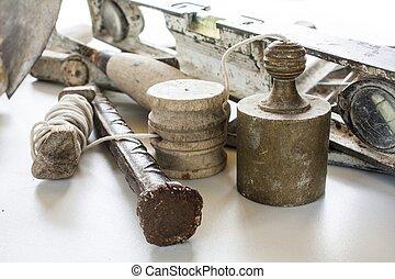 Construction masonry cement mortar tools on white
