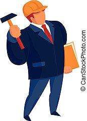 Construction master icon, cartoon style