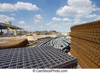 Construction material at building site