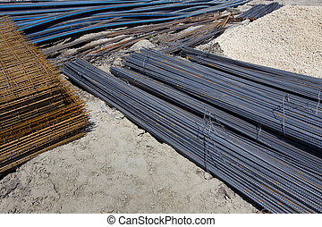 Construction material - Close up of rebar, reinforcement ...