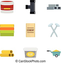 Construction material icon set, flat style