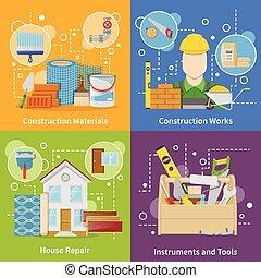 Construction Materials 2x2 Icons Set