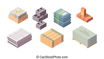 Construction materials building isometric set. Box with ...