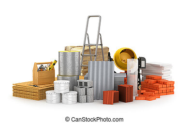 Construction materials, isolated on a white background. 3D...