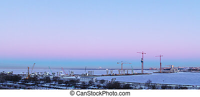construction, matin, hiver, site