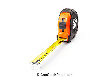 Construction measuring tape on a white background