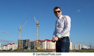 construction, menottes, inspecteur, fond