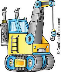 construction, mignon, grue, vecteur