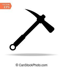 Construction, miner s black icon of a metal pickaxe with a wooden handle for digging earth, ore, black mining, and minerals for repair. Construction metalwork tool. Vector.