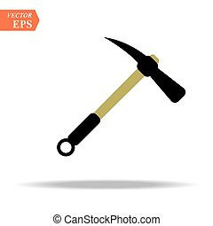 Construction, miner s blue icon of a metal pickaxe with a wooden handle for digging earth, ore, gold mining, and minerals for repair. Construction metalwork tool. Vector.