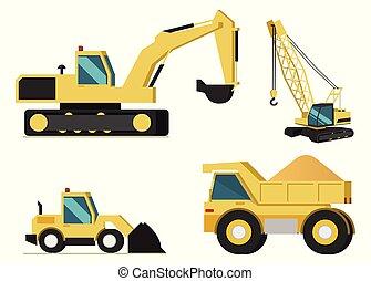 Construction, Mining Industry Machines Vector Set -...