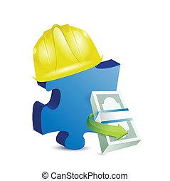 construction missing piece illustration design