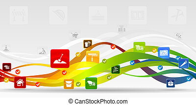 Construction mobile applications vector abstract background...