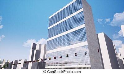 construction nations unies, quartiers généraux, métrage