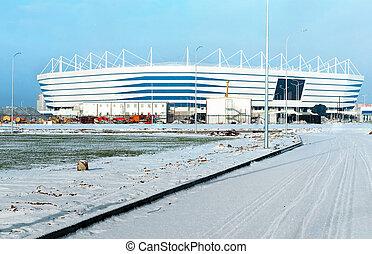 construction, neige, lieu, hiver, stade, sports, football