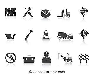 construction, noir, icône