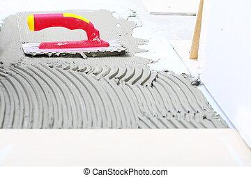 Mortier construction outils truelle notched tuiles for Mortier pour tuile faitiere