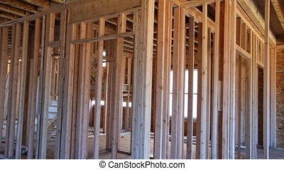 construction, nouveau, faisceau, encadrement, chambre maison, sous