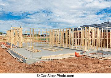 construction, nouveau, framing., maison