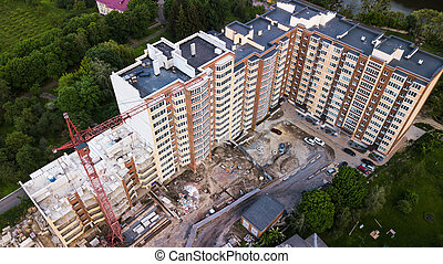 construction, nouveau, vue, aérien, bâtiment, multi-storey