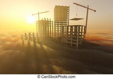 construction, nuages, gratte-ciel, au-dessus, sous