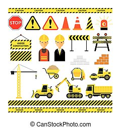 Construction Objects Set - Worker, Equipment, Vehicles