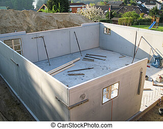 Construction of a cellar with prefabricated concrete
