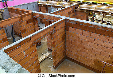 construction of a detached house - a family house is built...