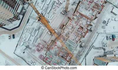 construction of a house, aerial, copter shoot - construction...