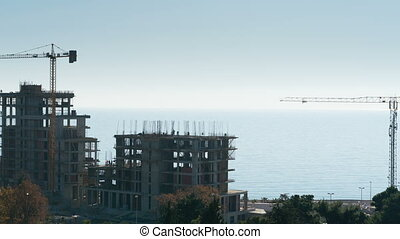 construction of a house by the sea