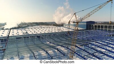 Construction of a modern factory or plant, Industrial area...