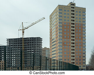 Construction of a modern high-rise residential building