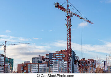 Construction of a modern residential complex. Moscow, Russia