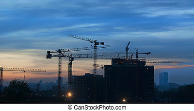 Construction of a modern residential district in the city