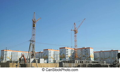 Construction of a residential complex. Cranes