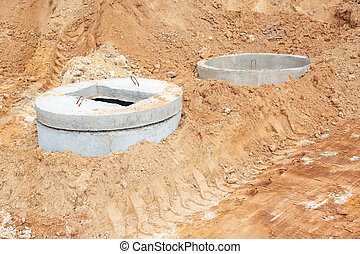 Construction of a sewage system for draining sewage from the road using reinforced concrete rings, outdoor