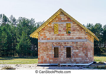 construction of a small new residential house in a rural area