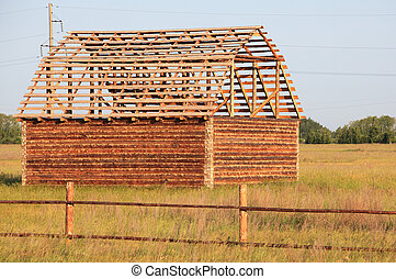 Construction of a wooden house.