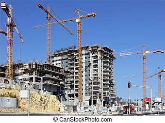 construction of a new multistory building in the modern city