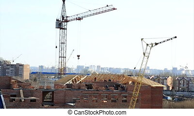 Construction of brick house. Time Lapse