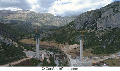 Construction of bridge columns of a new highway through the Moraca canyon in Montenegro